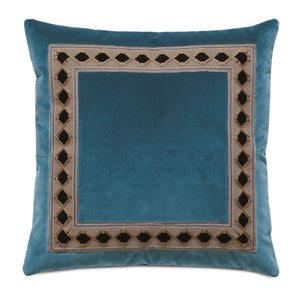 "Rudy Blue Velvet Mountain Lodge Throw Pillow 20""x20"""
