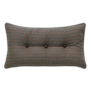 "Rudy Rust Ogee Button Tufted Mountain Lodge Throw Pillow 15""x26"""