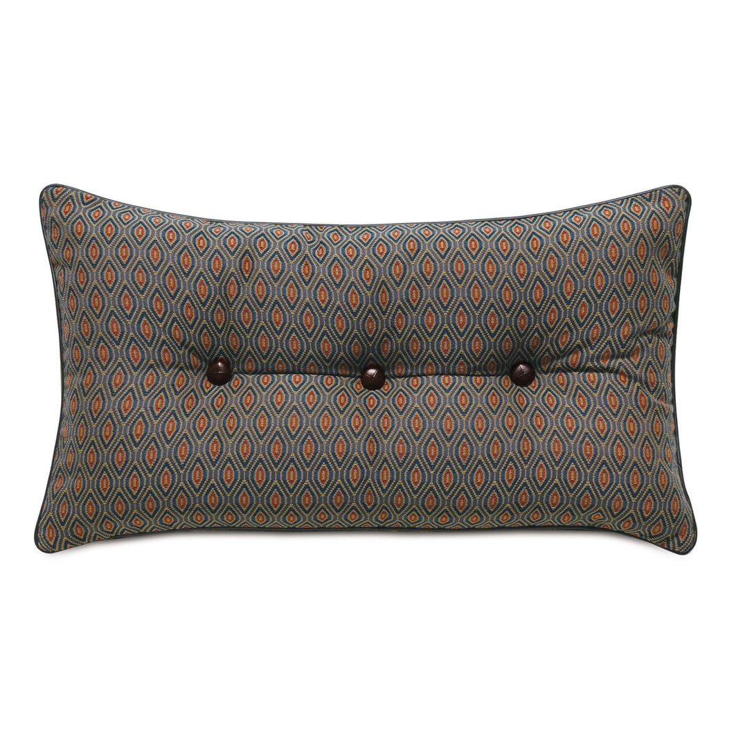 Rudy Rust Ogee Button Tufted Mountain Lodge Throw Pillow 15