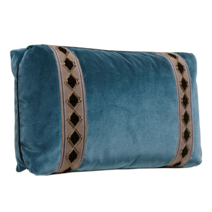"Rudy Blue Velvet Mountain Lodge Lumbar Throw Pillow 13""x22"""