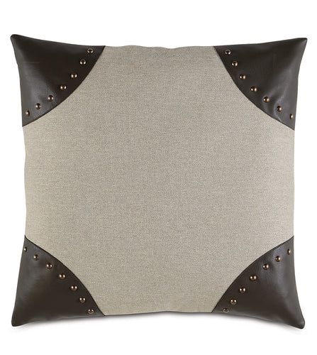 Beige Brown Studded Rustic Faux Leather Throw Pillow 22