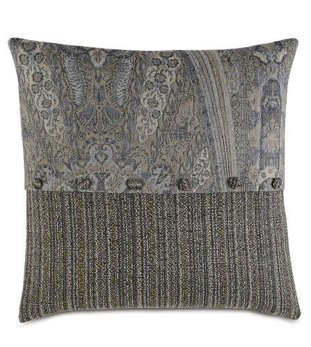 Reign Knife Edge Paisley Accent Pillow in Gray 24