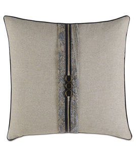 "Reign Cord Trim Accent Pillow in Beige 20""×20"""