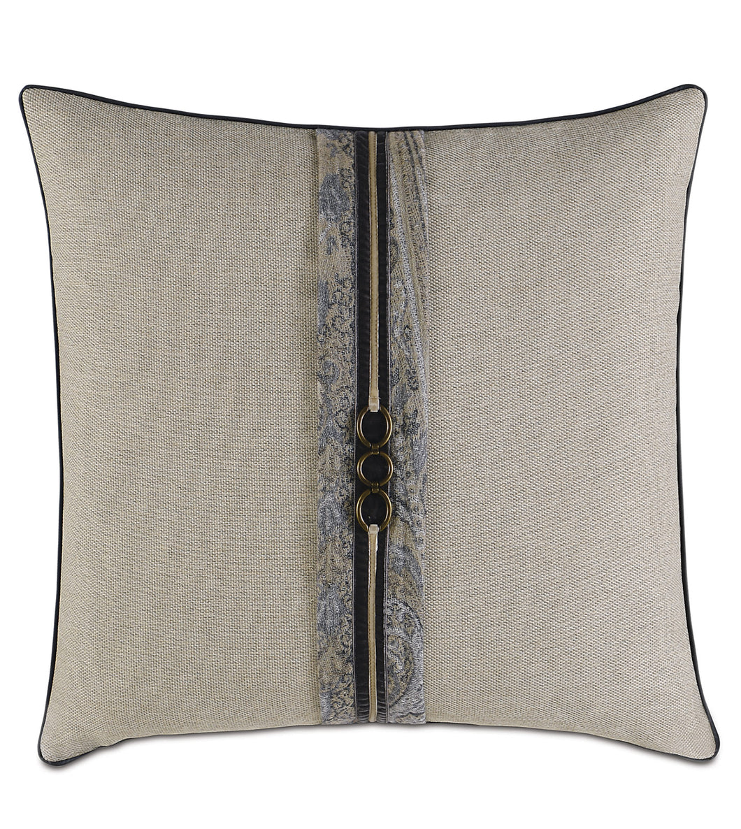Reign Cord Trim Accent Pillow in Beige 20