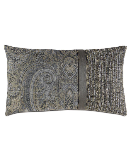 Reign Knife Edge Paisley Accent Pillow in Gray 15