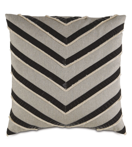 Reign Chevron Applique Knife Edge Accent Pillow in Neutral