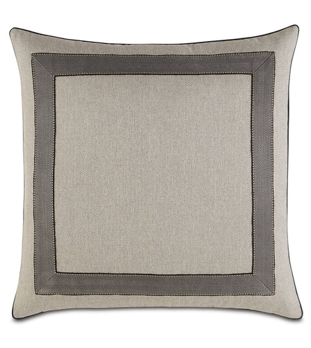 Reign Rustic Border Accent Pillow in Taupe 22x22