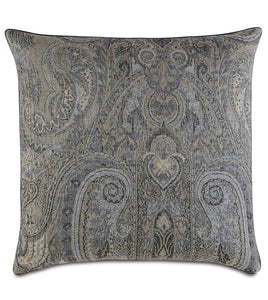 "Reign Paisley Cord Accent Pillow in Gray 22""x22"""
