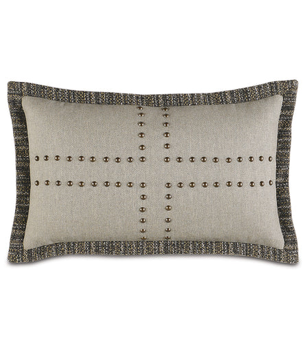 Champagne Mountain Lodge Geometric Studded Lumbar Pillow 13