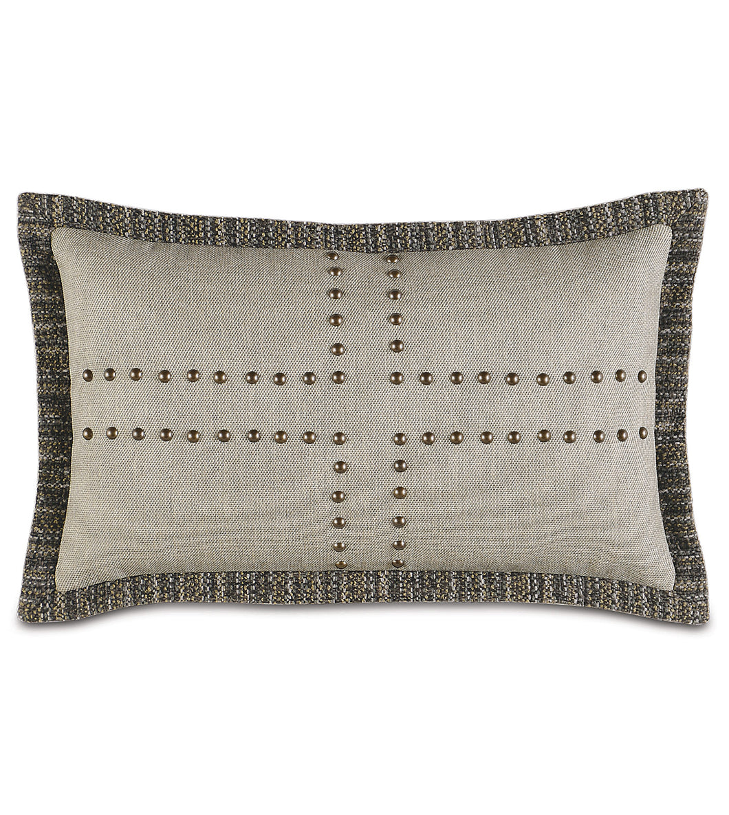 Reign Nailhead Flange Accent Pillow in Taupe 13