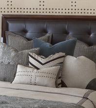 "Reign Nailhead Flange Accent Pillow in Taupe 13""x22"""