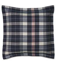 "Navy Blue Rustic Plaid Cotton Twill Throw Pillow Self Flange 24""x24"""