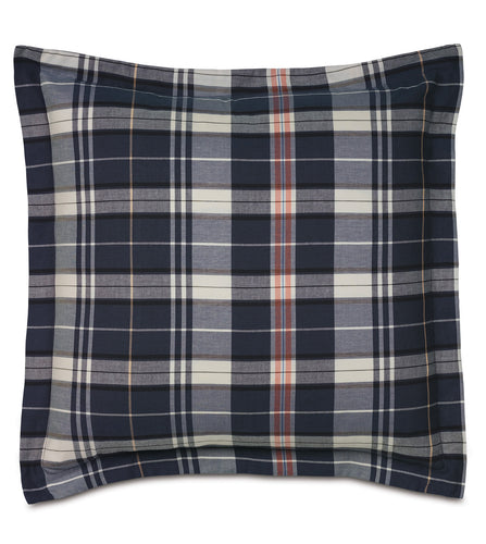 Navy Blue Rustic Plaid Cotton Twill Throw Pillow Self Flange 24