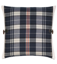 "Navy Blue Rustic Plaid Cotton Twill Throw Pillow Knife Edge with Toggles 20""x20"""