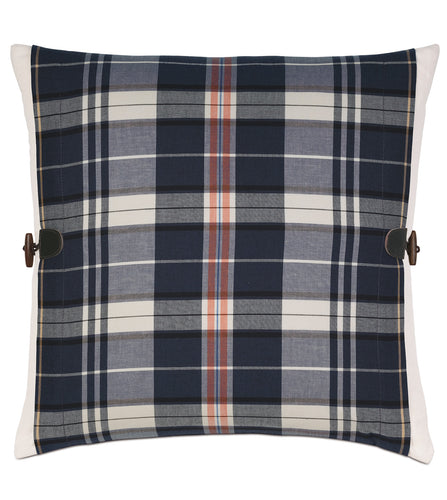 Navy Blue Rustic Plaid Cotton Twill Throw Pillow Knife Edge with Toggles 20