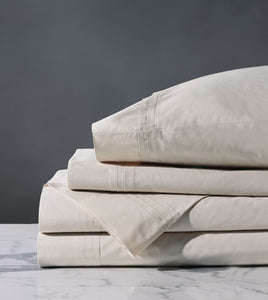 Vail Beige Luxury Fine Linen Pleated Percale Sheet Set