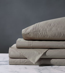 Vail Taupe Luxury Fine Linen Pleated Percale Sheet Set