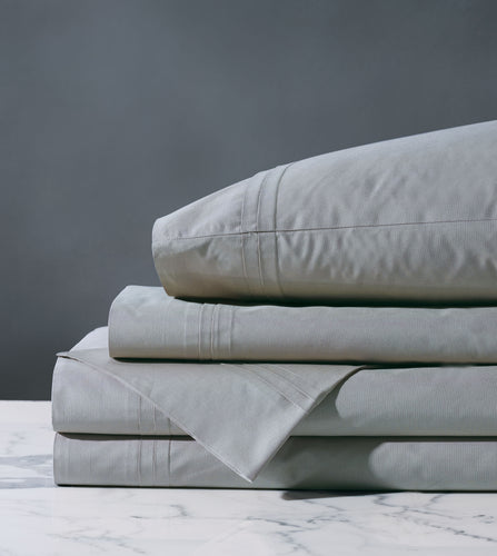 Vail Heather Gray Luxury Fine Linen Pleated Percale Sheet Set