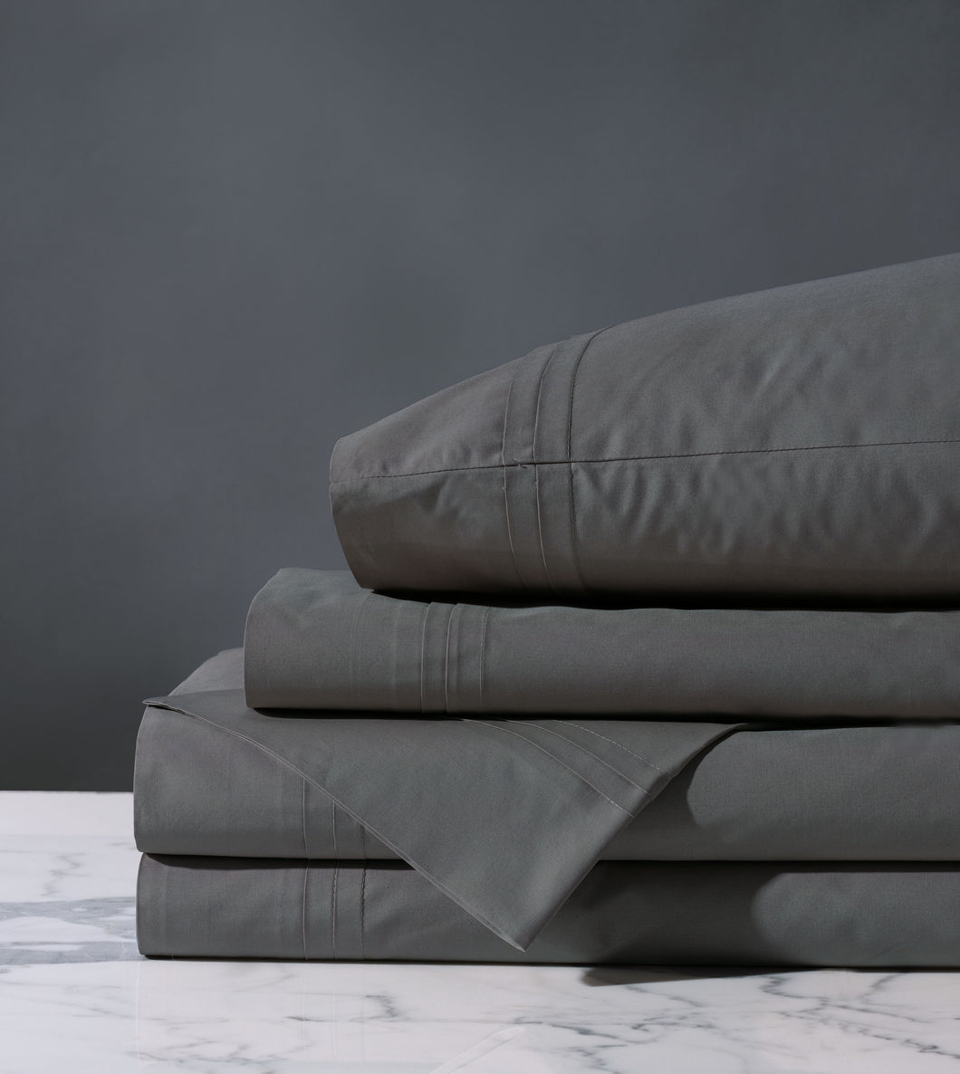 Vail Slate Gray Luxury Fine Linen Pleated Percale Sheet Set