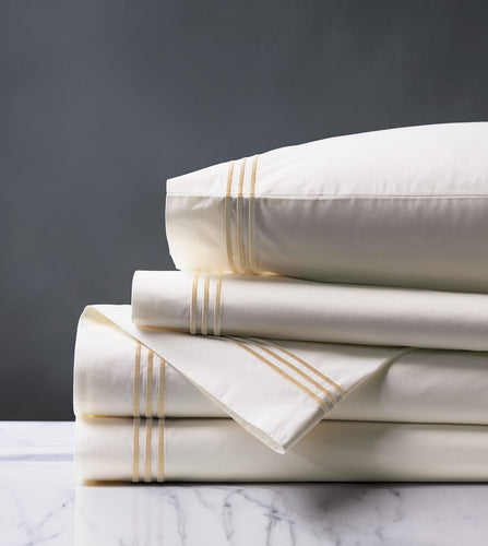 Tessa Ivory/Bisque Luxury Fine Linen Sheet Set