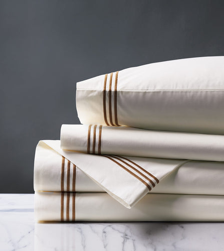 Tessa Ivory/Brown Luxury Fine Linen Sheet Set