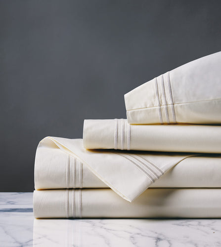Tessa Ivory/Creme Luxury Fine Linen Sheet Set