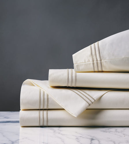 Tessa Ivory/Sable Luxury Fine Linen Sheet Set