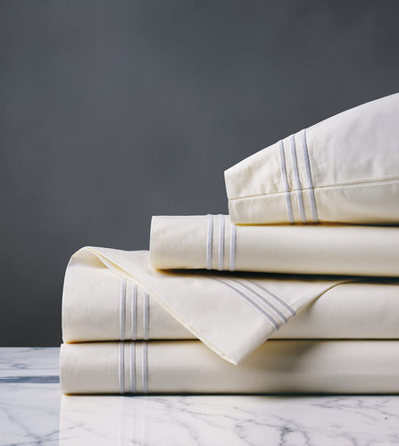 Tessa Ivory/White Luxury Fine Linen Sheet Set