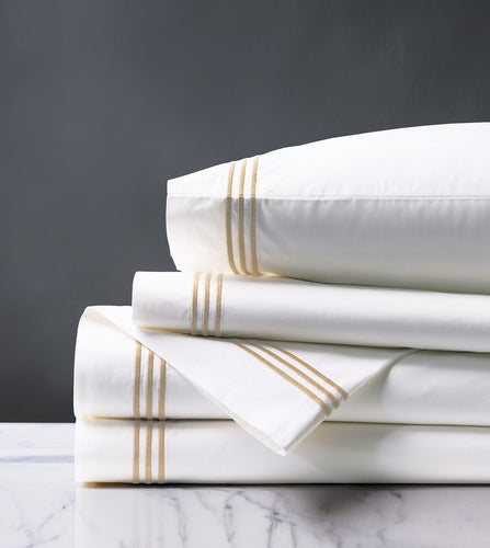 Tessa White/Bisque Luxury Fine Linen Sheet Set