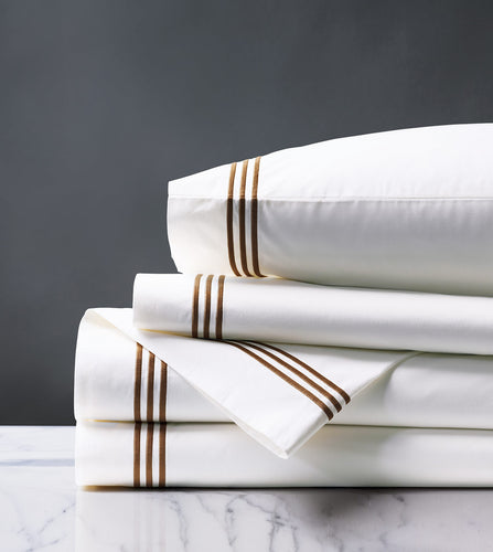 Tessa White/Brown Luxury Fine Linen Sheet Set