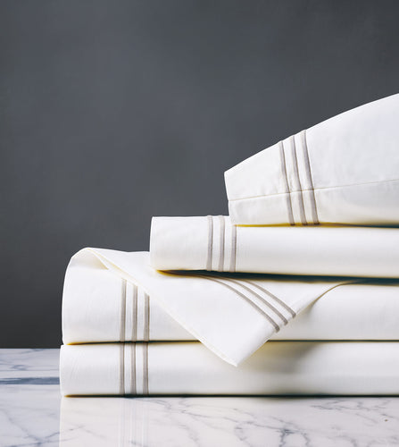 Tessa White/Creme Luxury Fine Linen Sheet Set