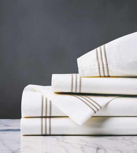 Tessa White/Sable Luxury Fine Linen Sheet Set