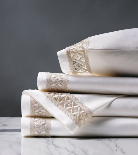 Juliet White/Ivory Luxury Fine Linen Sheet Set