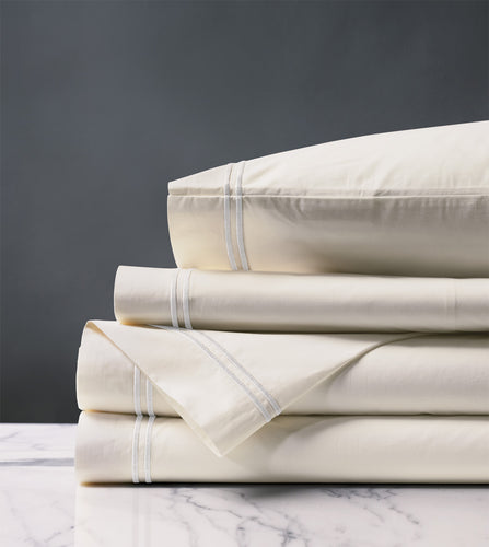 Enzo Ivory/White Luxury Fine Linen Sheet Set