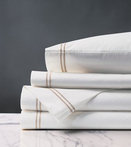 Enzo White/Bisque Luxury Fine Linen Sheet Set