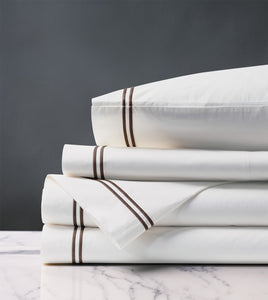 Enzo White/Brown Luxury Fine Linen Sheet Set