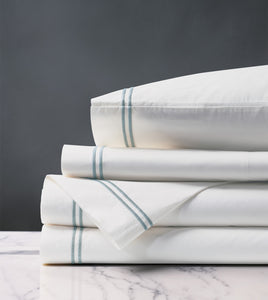 Enzo White/Lake Luxury Fine Linen Sheet Set