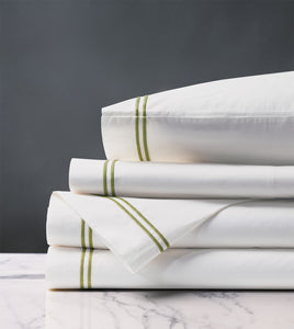 Enzo White/Lime Luxury Fine Linen Sheet Set