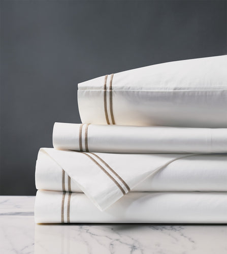 Enzo White/Sable Luxury Fine Linen Sheet Set