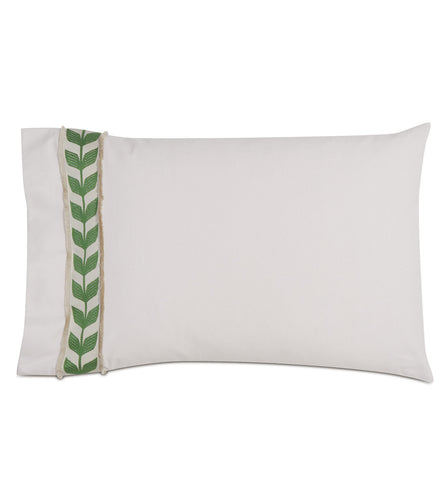 Ivory Rustic Cabin Mid Century Botanical Cotton Standard Sham with Green Ribbon 20
