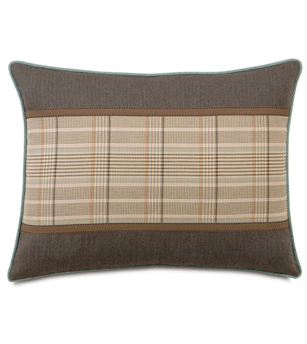 Kai Mocha Rustic Cabin Plaid Standard Sham With Ribbon 20