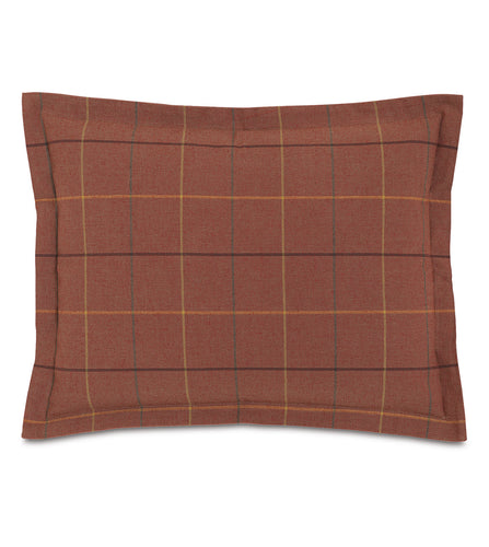 Donoghue Autumn Red Plaid Log Cabin Standard Sham Self Flange 20