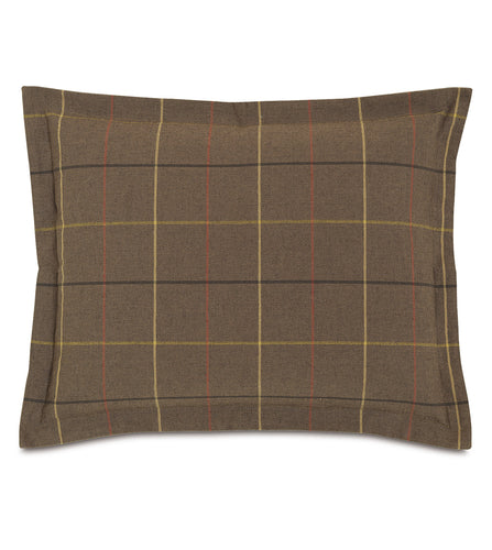 Chalet Alpine Bark Brown Plaid Log Cabin Standard Sham Self Flange 20