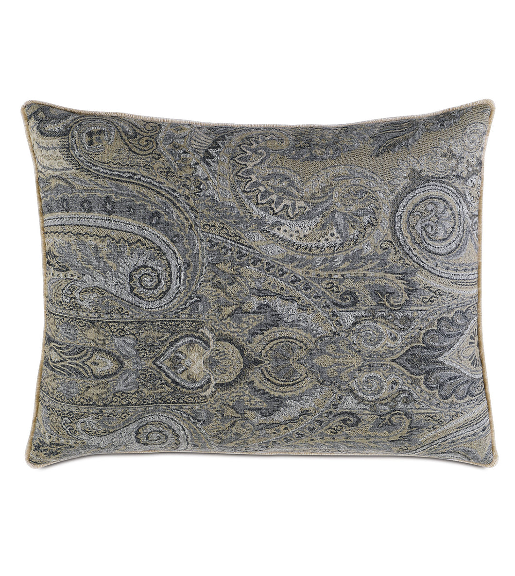 Reign Brush Fringe Paisley Standard Sham in Gray 20