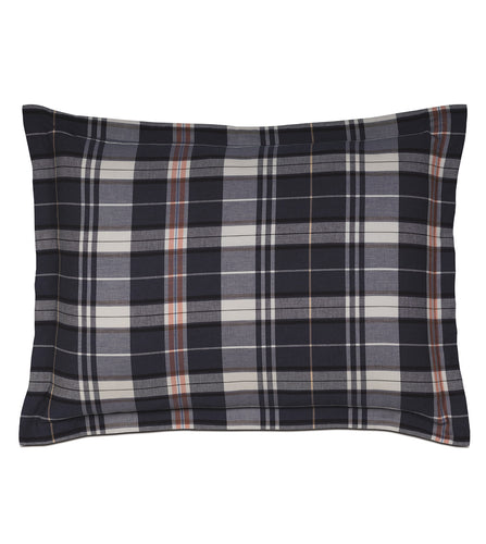 Scout Navy Blue Lodge Plaid Cotton Standard Sham Self Flange 20