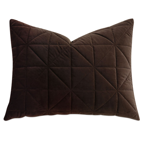 Chocolate Brown Geometric Washable Velvet Standard Sham 20