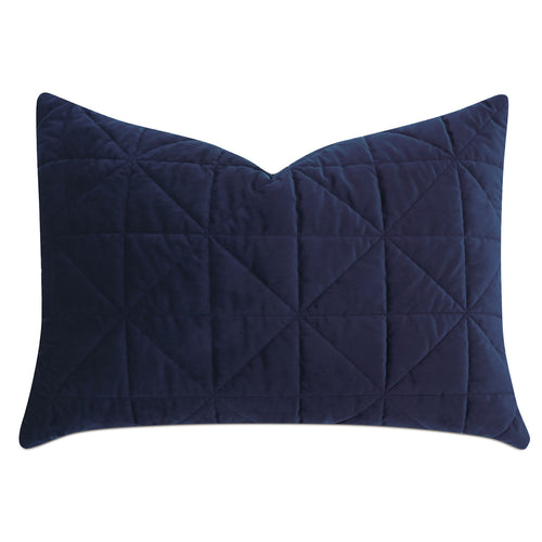 Navy Blue Geometric Washable Velvet Standard Sham 20
