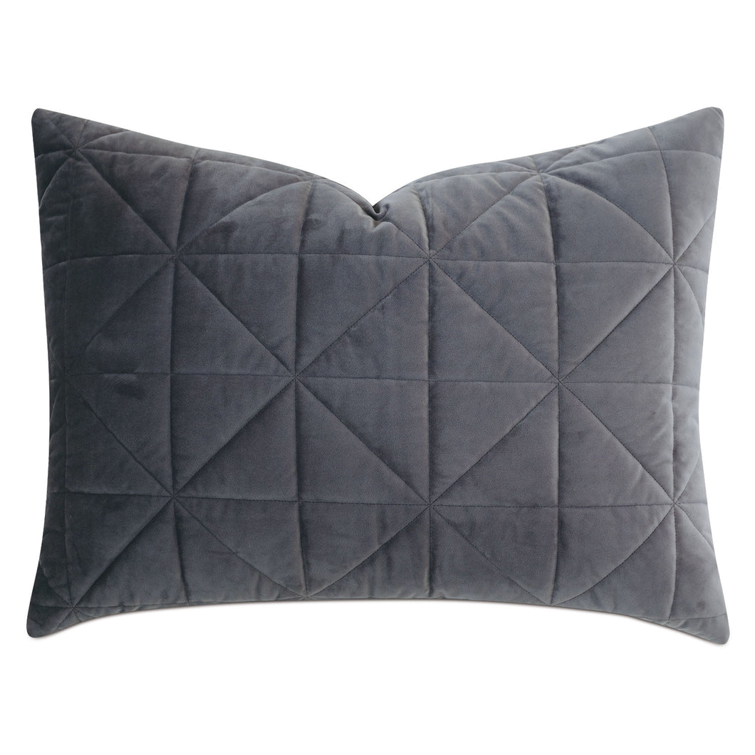 Dark Gray Geometric Washable Velvet Standard Sham 20