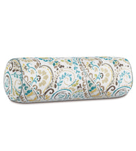 "Rustic Multicolored Paisley Pattern Decorative Neckroll Bolster Pillow 9""Dx24"""