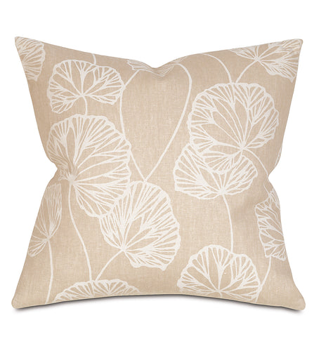 Neutral Ginko Rustic Cabin Botanical Throw Pillow Knife Edge 20